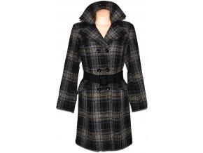 Vlněný dámský černohnědý kabát s páskem s.Oliver XL 3