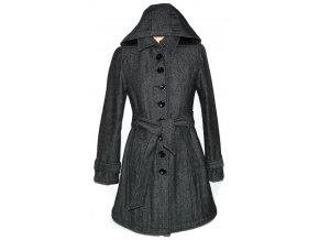 Vlněný dámský šedočerný kabát s páskem a kapucí CLOCKHOUSE 8/36Vlněný dámský šedočerný kabát s páskem a kapucí CLOCKHOUSE ML