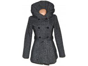 Vlněný dámský kabát s páskem a límcem AMISU S