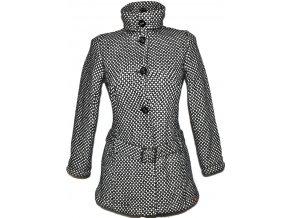 Vlněný dámský puntíkovaný černobílý kabát s páskem EDC XSS
