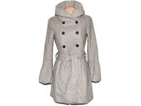 Vlněný dámský béžový kabát s páskem ZARA S