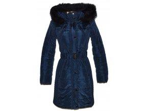 Dámský šusťákový modrý kabát s páskem a kapucí F&F S