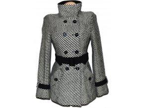 Dámský pruhovaný kabát s páskem M