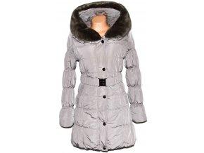 Dámský béžový kabát s páskem a límcem Forest M
