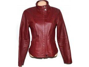 KOŽENÁ dámská vínová bunda na zip CLOCKHOUSE ML