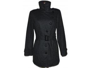 Vlněný dámský šedý kabát s páskem Debenhams XL