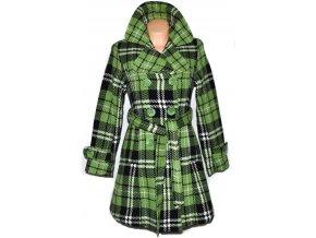Dámský zelený károvaný zateplený kabát s páskem Dovello S