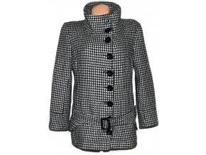 Vlněný dámský černobílý kabát s páskem kohoutí stopa NEW LOOK XL