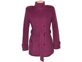 Vlněný dámský fialový zateplený kabát s páskem 38
