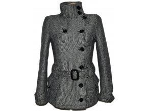 Vlněný dámský melírovaný zateplený kabát s páskem TERRANOVA M
