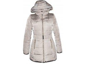 Dámský šusťákový béžový kabát s páskem a kapucí CAMAIEU M