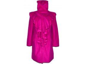 Vlněný dámský růžový kabát s volány L 4