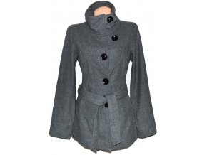 Vlněný dámský šedý kabát s páskem ONLY L