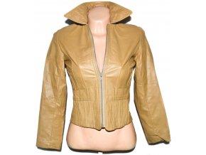 KOŽENÁ dámská béžová měkká bunda na zip