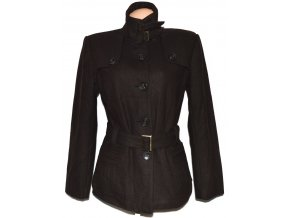 Vlněný dámský hnědý kabát s páskem
