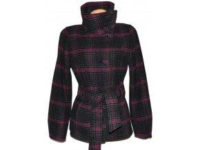 Vlněný dámský šedorůžový kabát s páskem H&M