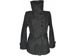 Vlněný dámský šedočerný kabát s páskem (vlna, kašmír) XXL