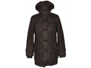 Vlněný pánský hnědý kabát na zip s kapucí H&M