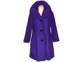 Vlněný dámský fialový kabát s volány XL
