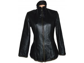KOŽENÁ dámská černá měkká bunda na zip, odnimatelná vložka S