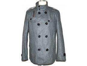 Pánský šedý dvouřadý kabát M