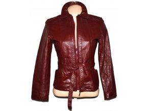 KOŽENÁ dámská vínová bunda s páskem Howard's S
