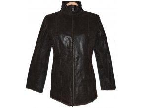 KOŽENÁ dámská hnědá zateplená bunda na zip EVOCO XL