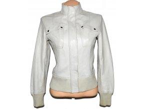 KOŽENÁ dámská smetanová měkká bunda na zip MANGO M