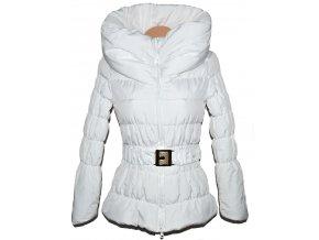 Dámský bílý šusťákový kabát s páskem a límcem S