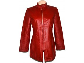 KOŽENÝ dámský červený kabát na zip CERO M