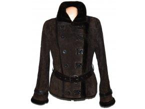 KOŽENÝ dámský hnědý broušený kabát s páskem C&A L