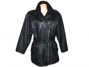 KOŽENÝ dámský černý kabát - křivák s páskem Front Line L