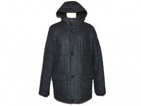 Vlněný pánský šedý kabát s kapucí C&A XL