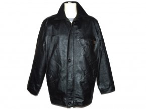 KOŽENÁ pánská černá měkká bunda na zip Fai XL