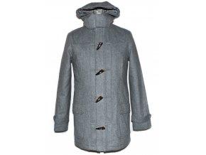 Vlněný pánský šedý zateplený kabát s kapucí XS