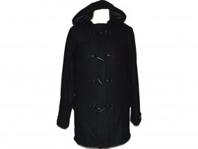 Vlněný pánský černý kabát s kapucí NEW LOOK XS