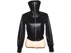 KOŽENÁ dámská černá měkká bunda na zip NEW LOOK S