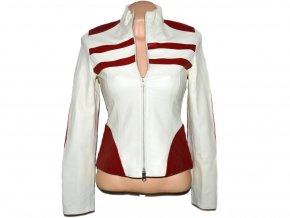 KOŽENÁ dámská červeno-bílá měkká bunda 42nd Street XS