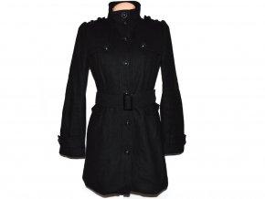 Vlněný dámský černý kabát s páskem NEW LOOK M