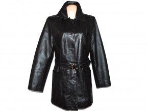 KOŽENÝ dámský hnědý kabát s páskem CERO XXL