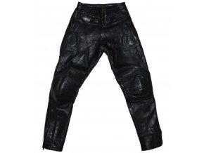 KOŽENÉ černé motorkářské kalhoty Skintan S