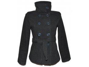 Vlněný dámský šedý kabát s páskem S
