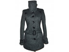 Dámský šedočerný zateplený kabát s páskem M 2