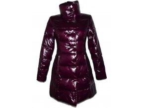 Péřový dámský fialový kabát Fishbone S