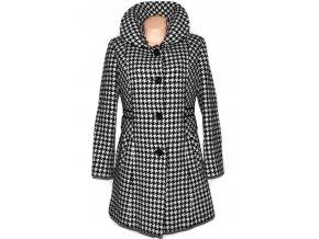 Vlněný (80%) dámský černobílý kabát ODEMA - kohoutí stopa L