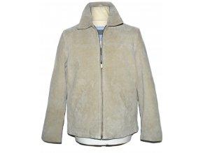 KOŽENÁ pánská béžová broušená bunda M