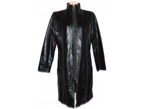 KOŽENÝ dámský černý dlouhý kabát na zip XXL 2