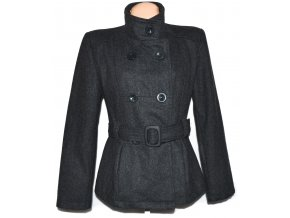 Vlněný dámský šedý kabát s páskem L