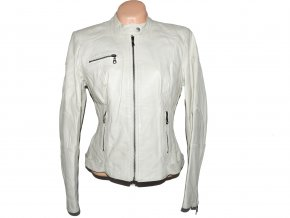 KOŽENÁ dámská bílá měkká bunda na zip NEXT