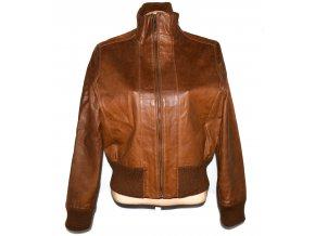 KOŽENÁ dámská hnědá bunda na zip KIT XL
